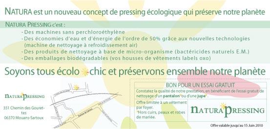 Natura Pressing - Création de Flyer